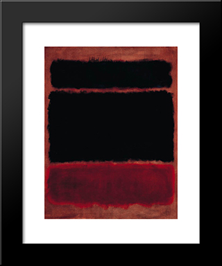 Black In Deep Red: Modern Black Framed Art Print by Mark Rothko