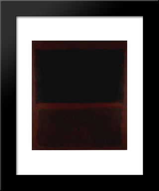 Black On Dark Sienna On Purple: Modern Black Framed Art Print by Mark Rothko