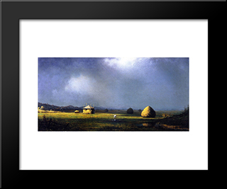 A Cloudy Day: Modern Black Framed Art Print by Martin Johnson Heade