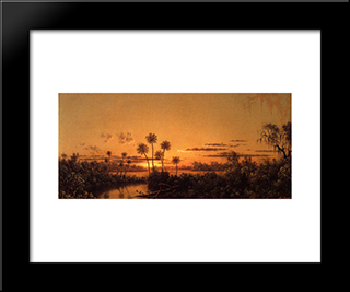Florida River Scene Early Evening, After Sunset: Modern Black Framed Art Print by Martin Johnson Heade