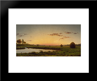 Haystacks On The Newburyport Marshes: Modern Black Framed Art Print by Martin Johnson Heade
