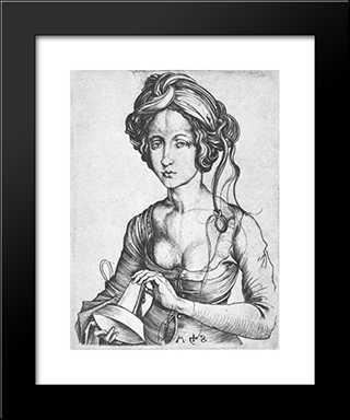 A Foolish Virgin: Modern Black Framed Art Print by Martin Schongauer