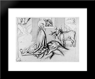 Adoration Of The Child: Modern Black Framed Art Print by Martin Schongauer