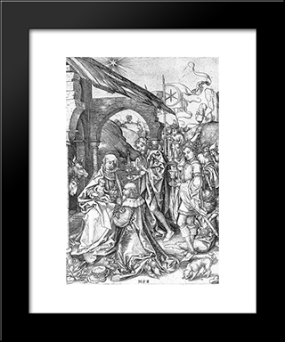 Adoration Of The Magi: Modern Black Framed Art Print by Martin Schongauer