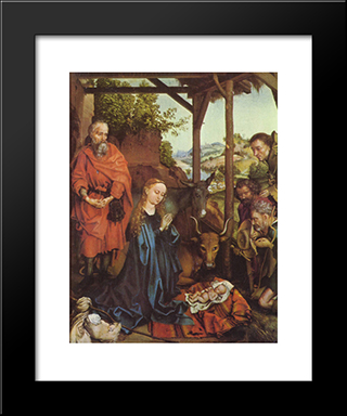 Adoration Of The Shepherds: Modern Black Framed Art Print by Martin Schongauer