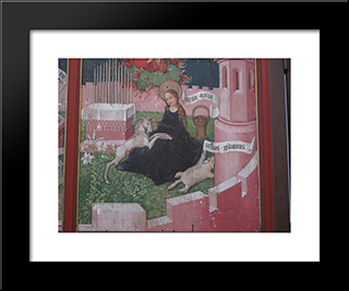 Altarpiece Of The Dominicans The Mystical Hunt: Modern Black Framed Art Print by Martin Schongauer