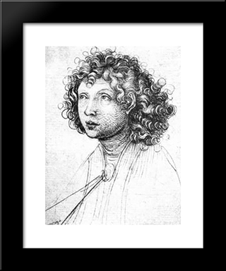 Angel'S Head: Modern Black Framed Art Print by Martin Schongauer