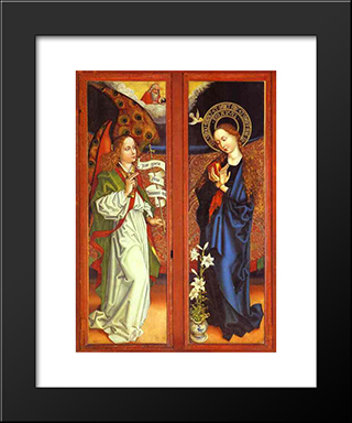 Annunciation: Modern Black Framed Art Print by Martin Schongauer