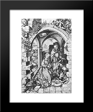 Birth Of Jesus: Modern Black Framed Art Print by Martin Schongauer