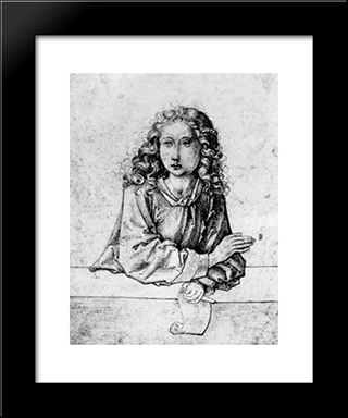 Boy With Scroll: Modern Black Framed Art Print by Martin Schongauer