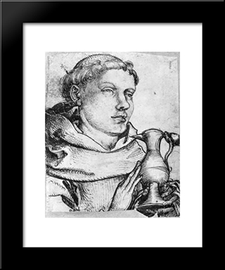 Bust Of A Monk Assisting At Communion: Modern Black Framed Art Print by Martin Schongauer
