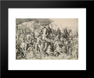 Christ Bearing His Cross: Modern Black Framed Art Print by Martin Schongauer