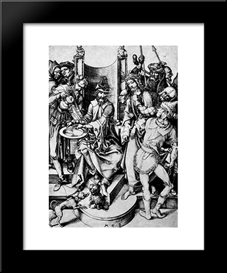 Christ Before Pilate: Modern Black Framed Art Print by Martin Schongauer