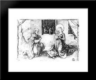 Christ'S Birth: Modern Black Framed Art Print by Martin Schongauer