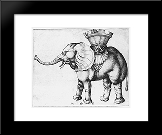 Elefant: Modern Black Framed Art Print by Martin Schongauer