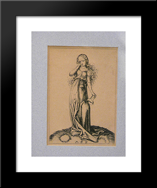 Engraving On Copper Of A Foolish Virgin: Modern Black Framed Art Print by Martin Schongauer