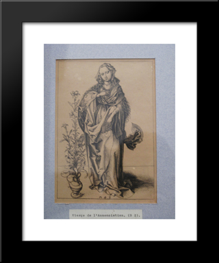 Engraving On Copper Of The Annunciation: Modern Black Framed Art Print by Martin Schongauer