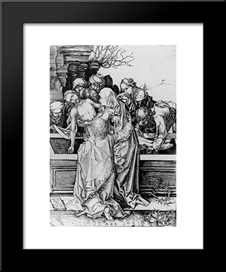 Entombment Copperplate: Modern Black Framed Art Print by Martin Schongauer