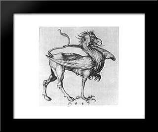 Griffin: Modern Black Framed Art Print by Martin Schongauer