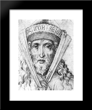 Head Of A High Priest: Modern Black Framed Art Print by Martin Schongauer