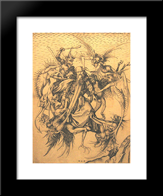 Holy Antonius: Modern Black Framed Art Print by Martin Schongauer