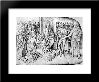 Judgement Of Solomon: Modern Black Framed Art Print by Martin Schongauer
