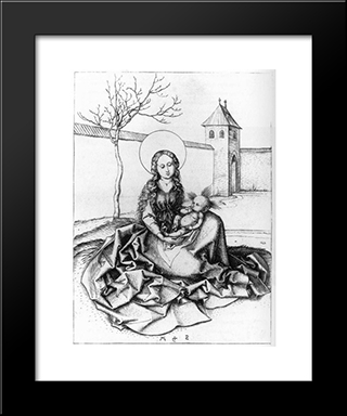Madonna And Child In The Couryard: Modern Black Framed Art Print by Martin Schongauer