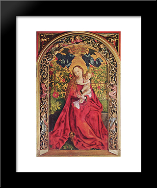 Madonna Of The Rose Bower: Modern Black Framed Art Print by Martin Schongauer