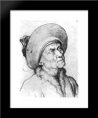 Man In A Hat Gazing Upward: Modern Black Framed Art Print by Martin Schongauer
