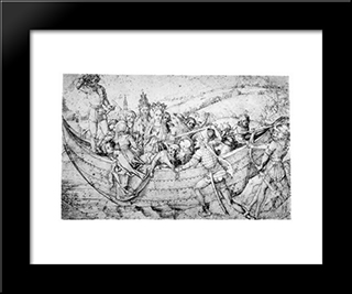 Marter Of St. Ursula: Modern Black Framed Art Print by Martin Schongauer
