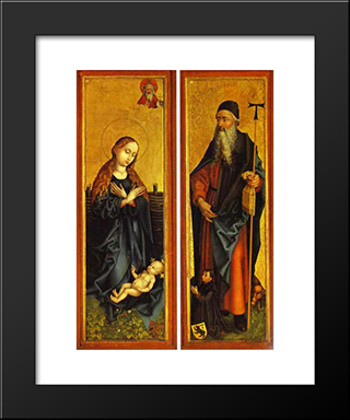 Nativity And St. Anthony: Modern Black Framed Art Print by Martin Schongauer