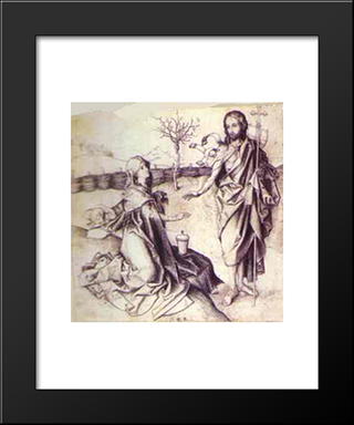Our Saviour Appearing To Mary Magdalene In The Garden: Modern Black Framed Art Print by Martin Schongauer
