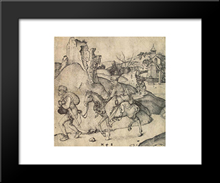 Peasant Family Going To The Market: Modern Black Framed Art Print by Martin Schongauer