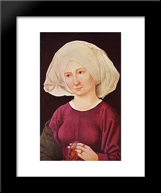 Portrait Of A Young Woman: Modern Black Framed Art Print by Martin Schongauer