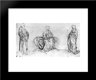 Sitting Mary With The St. Jude Thaddeus And St. Ursula: Modern Black Framed Art Print by Martin Schongauer