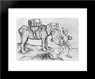 The Elephant And His Trainer: Modern Black Framed Art Print by Martin Schongauer