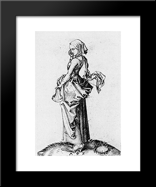 The Fifth Foolish Virgin: Modern Black Framed Art Print by Martin Schongauer