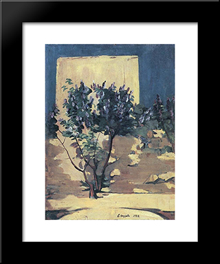 A Lilac Bush: Modern Black Framed Art Print by Martiros Saryan