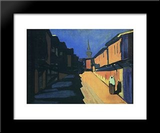 A Street. Evening.: Modern Black Framed Art Print by Martiros Saryan