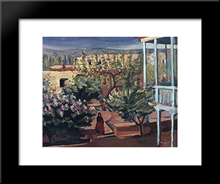 A Yard: Modern Black Framed Art Print by Martiros Saryan
