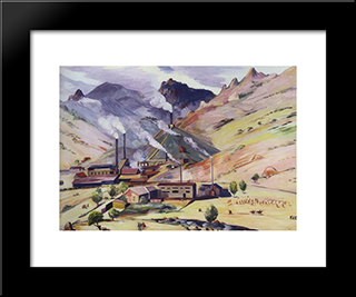 Alaverdi Copper - Chemical Complex: Modern Black Framed Art Print by Martiros Saryan