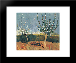 Apple Trees In Blossom: Modern Black Framed Art Print by Martiros Saryan