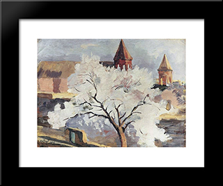 Apricot Tree In Blossom: Modern Black Framed Art Print by Martiros Saryan