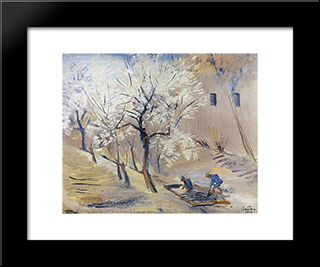 Apricot Trees In Blossom: Modern Black Framed Art Print by Martiros Saryan