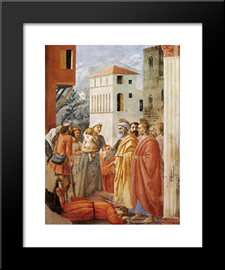 Distribution Of Alms And Death Of Ananias: Modern Black Framed Art Print by Masaccio