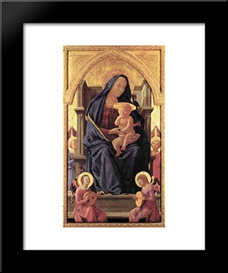 Maria And Child: Modern Black Framed Art Print by Masaccio