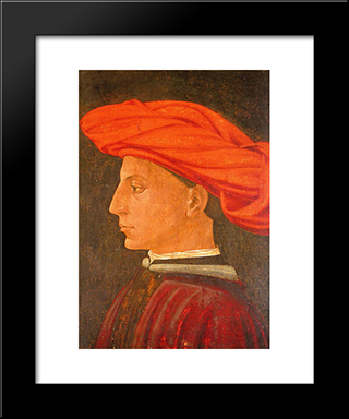 Portrait Of A Young Man: Modern Black Framed Art Print by Masaccio