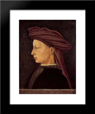 Portrait Of A Young Woman: Modern Black Framed Art Print by Masaccio