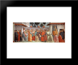 Raising Of The Son Of Teophilus And St.Peter Enthroned: Modern Black Framed Art Print by Masaccio
