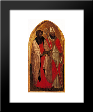 San Giovenale Triptych. Left Panel: Modern Black Framed Art Print by Masaccio